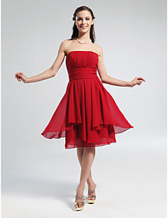 Knee-length Chiffon Bridesmaid Dress - Ruby / Grape / Royal Blue / Champagne Plus Sizes / Petite A-line / Princess Strapless