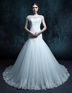 웨딩 드레스 - 트럼펫/멀메이드 쿼트 트레인 스쿱 튤