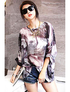 Women's Korean Fashion Mix Color Print Chiffon Blouse
