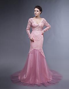 Kleid - Perlen Pink Spitze/Tülle - Meerjungfrau-Linie / Mermaid-Stil - Sweep / Pinsel Zug - V-Ausschnitt