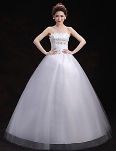 Ball Gown Wedding Dress - White Floor-length Scalloped-Edge Tulle
