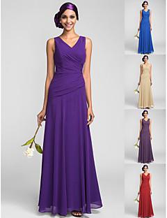 Bridesmaid Dress Floor Length Georgette Sheath Column V Neck Dress
