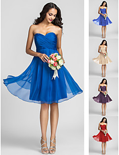 homecoming dama de honor hasta la rodilla vestido de gasa vestido de novia de línea de un (722115)