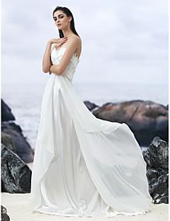 웨딩 드레스 - 아이보리(색상은 모니터에 따라 다를 수 있음) A 라인 쿼트 트레인 스윗하트 조젯