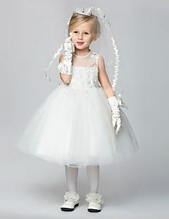 Haljina za djevojčicu s cvijećem Retka Koljeno duljine Čipka
