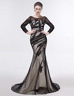 Dress - Black Trumpet/Mermaid Scoop Sweep/Brush Train Tulle