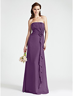 Floor-length Chiffon Bridesmaid Dress - Sheath / Column Strapless Plus Size / Petite with Flower(s) / Side Draping / Cascading Ruffles