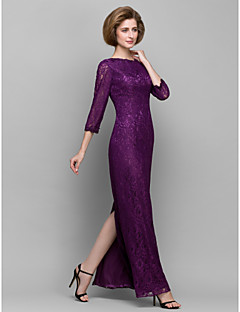 Lanting Sheath/Column Mother of the Bride Dress - Grape Ankle-length 3/4 Length Sleeve Lace