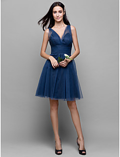 Lanting Bride® Knee-length Tulle Bridesmaid Dress A-line V-neck with Criss Cross