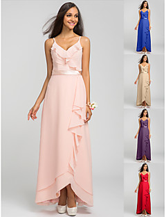 Asymmetrical Chiffon Bridesmaid Dress - Pearl Pink / Royal Blue / Ruby / Champagne / Grape Plus Sizes / Petite Sheath/ColumnSpaghetti