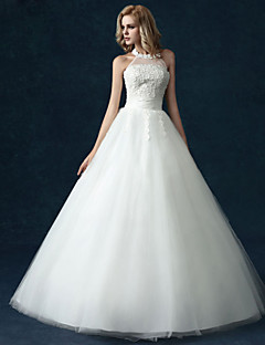 Ball Gown Wedding Dress - Classic & Timeless Lacy Looks Floor-length High Neck Tulle with Appliques / Pearl