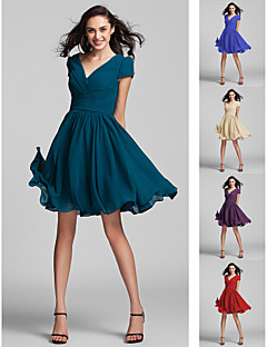 Knee-length Georgette Bridesmaid Dress - Ruby / Grape / Royal Blue / Champagne / Ink Blue Plus Sizes / Petite A-line / Princess V-neck