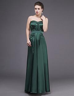 Vestido - Verde Escuro Tubo/Coluna Curação Longo Renda/Charmeuse