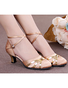 Women's Dance Shoes Belly/Latin/Samba Satin/Leatherette/Patent Leather/Synthetic Cuban Heel Black/Blue/Red/Gold/Other