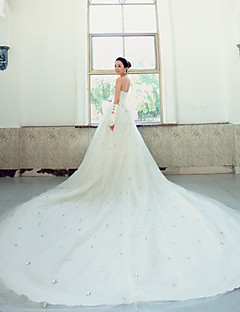Ball Gown Wedding Dress - White Chapel Train Strapless Lace