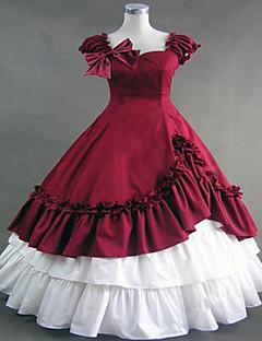 One-Piece/Dress Gothic Lolita Steampunk® Cosplay Lolita Dress Patchwork Vintage Cap Sleeveless Long Length Dress For Cotton Lace Terylene