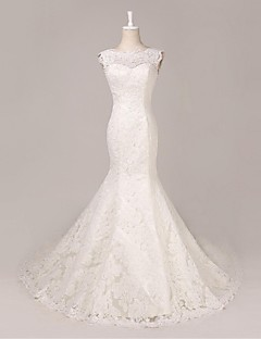 Trumpet/Mermaid Wedding Dress-Court Train Scoop Lace