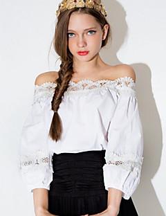Tee-shirt Aux femmes,Couleur Pleine Décontracté / Quotidien simple / Mignon Automne Manches Longues Epaules Dénudées Blanc Fin