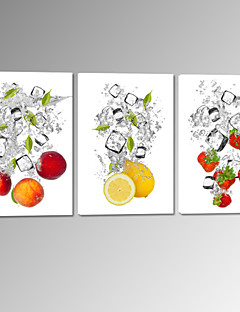 VISUAL STAR®Fruit in Water Stretched Canvas Printing Lemon Strawberry Wall Picture Ready to Hang