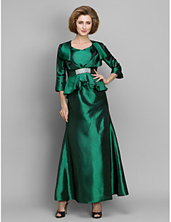A-line Mother of the Bride Dress Ankle-length 3/4 Length Sleeve Taffeta with Crystal Detailing