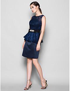 Lanting Bride Knee-length Lace / Satin Bridesmaid Dress Sheath / Column Jewel Plus Size / Petite with Lace / Crystal Brooch