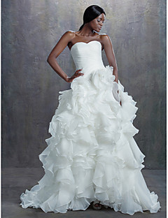 A-line Chapel Train Wedding Dress -Sweetheart Organza