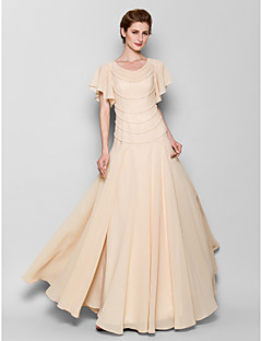 Lanting Sheath/Column Plus Sizes / Petite Mother of the Bride Dress - Pearl Pink Floor-length Short Sleeve Chiffon