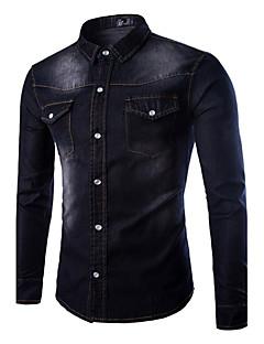 Men's Pure Long Sleeve Top , Cotton / Denim Casual