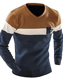 עבה חורף כותנה שרוול ארוך צווארון V כחול / אפור קולור בלוק פעיל יום יומי\קז'ואל סוודר רגיל גברים מיקרו-אלסטי
