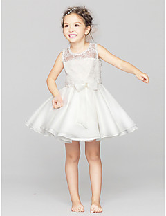 A-line Short / Mini Flower Girl Dress - Lace / Polyester Sleeveless Jewel with