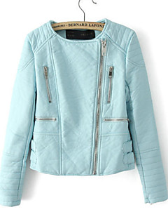 Women's Solid Blue / Pink Jackets , Casual Round Neck Long Sleeve