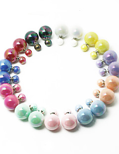 Beadia 1Pc Fashion Stud Earrings 16mm Round AB Colors Plastic Double Side Stud Earring (11 Colors)