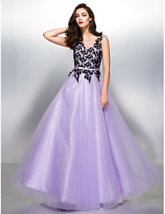 Formal Evening Dress - Lavender A-line V-neck Floor-length Lace/Tulle