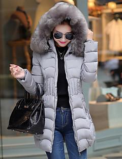 Manteau Rembourré Femme,Long Grandes Tailles Couleur Pleine-Polyester Polyester Manches Longues Rouge / Noir / Gris Capuche