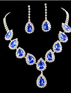 Feminino Conjunto de Jóias Moda Colorido bijuterias Imitações de Diamante Brincos Colar Para Festa Ocasião Especial Aniversário Noivado