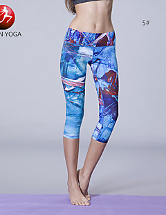 Yoga Pants Leggings / Fundos / Calças / 3/4 calças justas / Crop wicking / Compressão / Materiais Leves Caído Stretchy Wear Sports