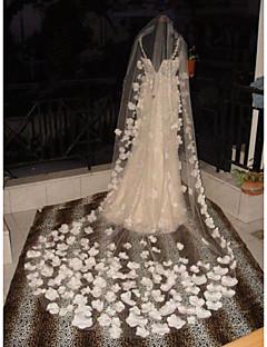 Wedding Veil One-tier Cathedral Veils Flower  Applique Edge