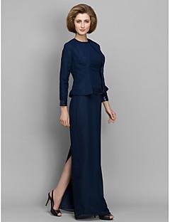 Tubinho Vestido Para Mãe dos Noivos Longo Manga Longa Chiffon - Lantejoulas
