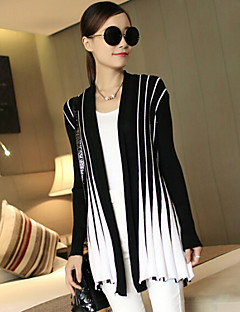 Women's Striped V-neck Slim Cardigan , Casual Long Sleeve Ruched