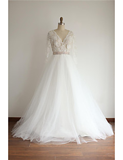 A-line Wedding Dress - Ivory Court Train V-neck Lace / Tulle