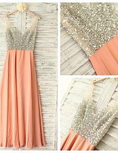 Formal Evening Dress - Orange Ball Gown V-neck Floor-length Chiffon
