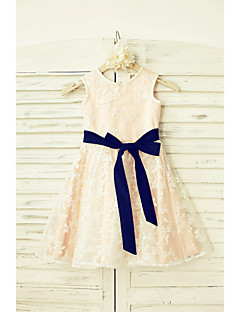 A-line Knee-length Flower Girl Dress - Lace / Satin Sleeveless