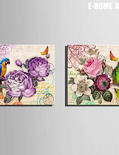 e-FOYER toile tendue art de la fleur et le perroquet décoratif ensemble de 2 de peinture