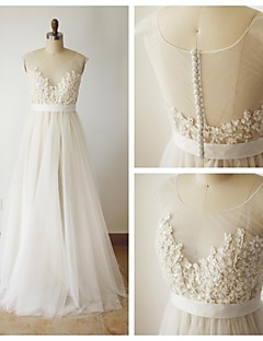 A-line Wedding Dress - Champagne Sweep/Brush Train Scoop Lace