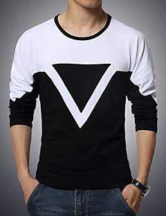 Bomull Spandex Langermet,Rund hals T-skjorte Ensfarget Fargeblokk Aktiv Sport Fritid/hverdag Plusstørrelser Herre