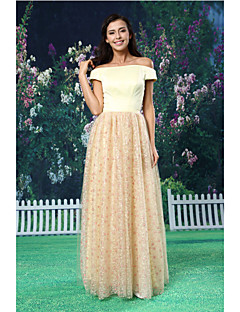 A-line Formal Evening Dress - Champagne Floor-length Off-the-shoulder Lace / Satin