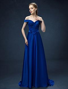 Vestido - Tinta Azul Festa Formal Linha-A Ombro a Ombro Sweep / Brush Train Cetim