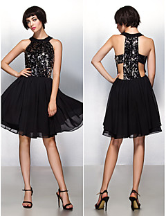 Cocktail Party Dress - Champagne A-line Halter Knee-length Chiffon/Sequined