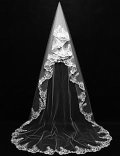 한층 - 레이스처리된 가장자리 - 클래식 - 채플 베일 ( 아이보리 , 새해장식 )