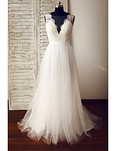 A-line Wedding Dress - Glamorous & Dramatic See-Through Wedding Dresses Sweep / Brush Train V-neck Lace / Tulle with Button / Lace
